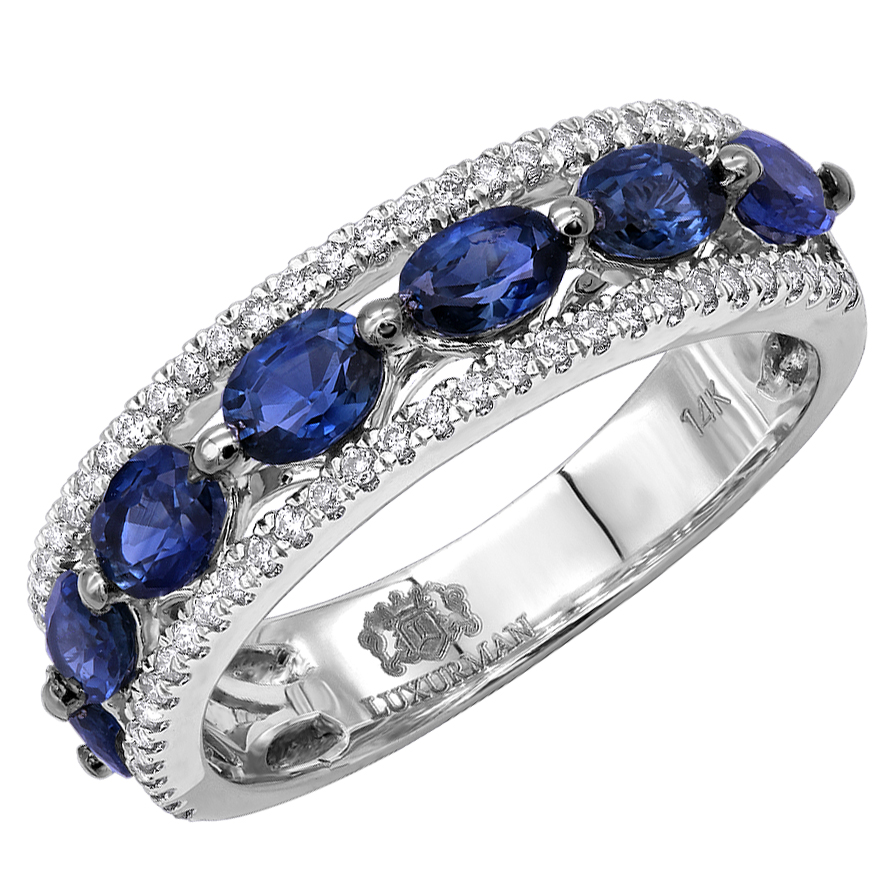 Unique Womens Rings Diamond & Blue Sapphire Band in 14k Gold 3.5 Carat White Image