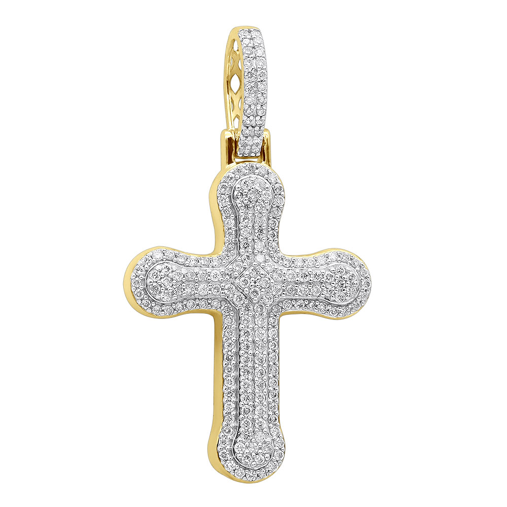 Uniquely Designed 14k Gold Pave Diamond Cross Pendant For Men & Women 1.2ct Yellow Image
