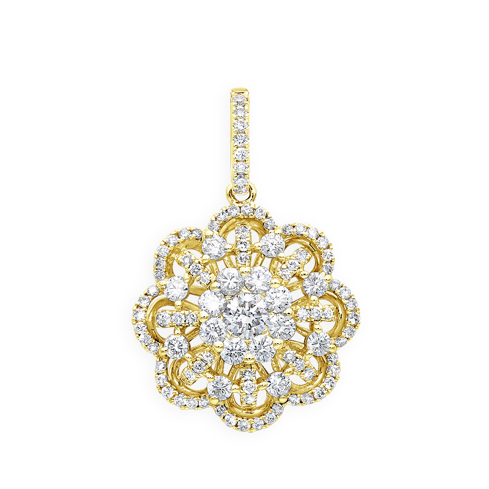 Vintage 18K Gold Flower Cluster Diamond Pendant for Women 1.25ct LUXURMAN Yellow Image