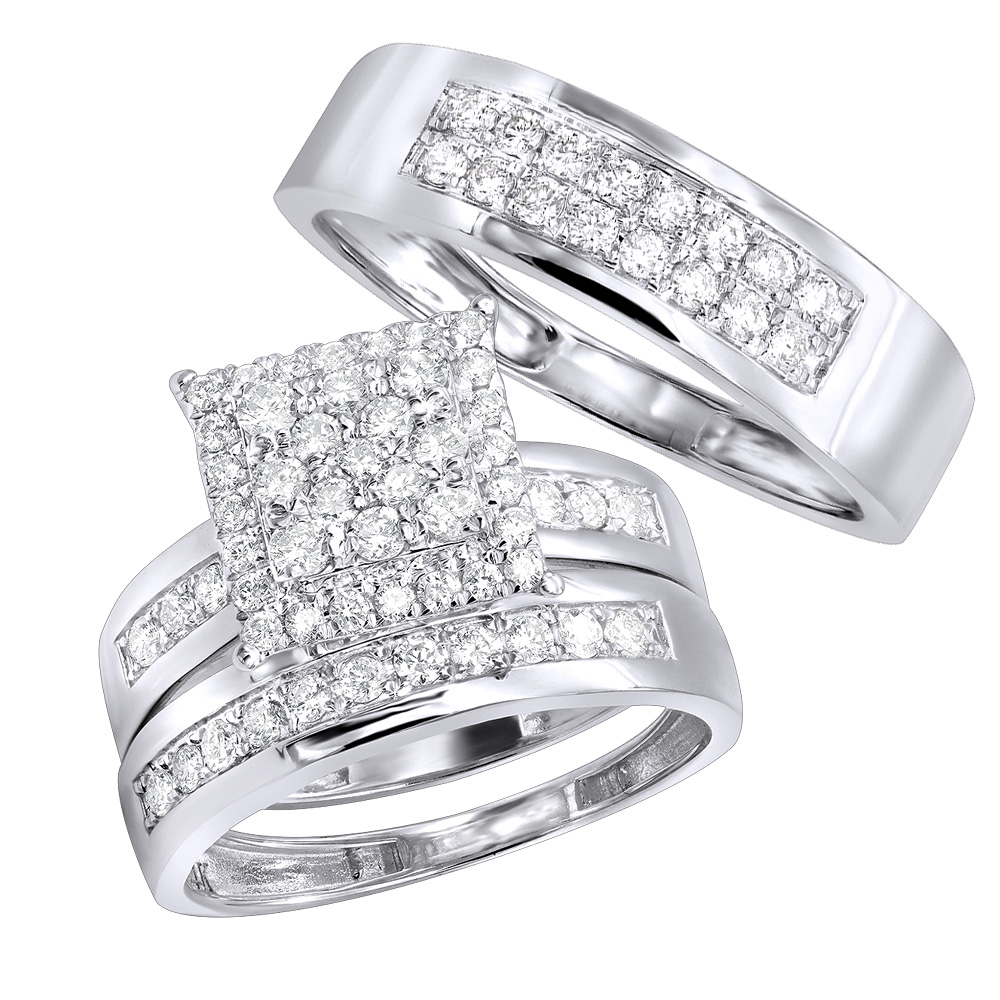 Wedding and Engagement Trio Diamond Ring Set for Him and Her 1.3ct 14K Gold White Image