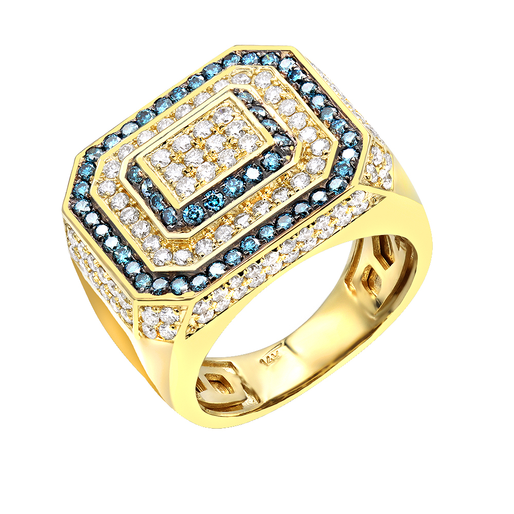 White and Blue Diamonds Halo Setting Ring for Men 14K Gold by LUXURMAN Yellow Image