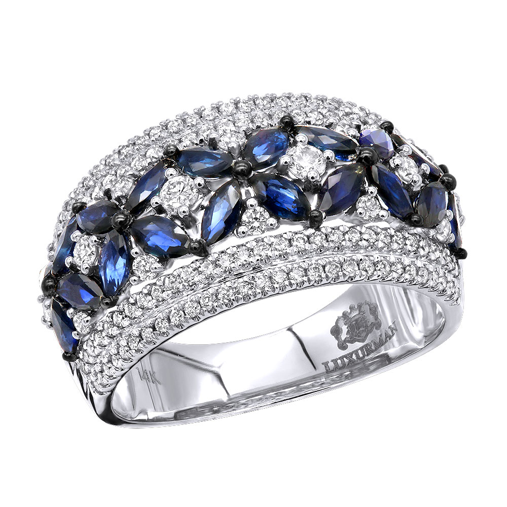 Womens Designer Cocktail Ring 2.2Ct Diamond and Sapphire Band 14k Gold