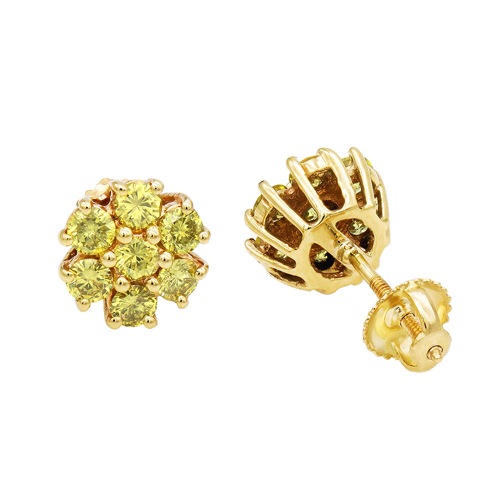 Womens or Mens 1.5 Carat Yellow Diamonds Cluster Stud Earrings in 14K Gold Yellow Image