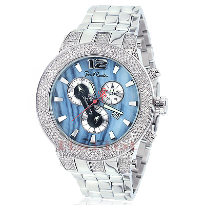 Joe Rodeo Broadway Mens Diamond Watch 5ct Blue MOP