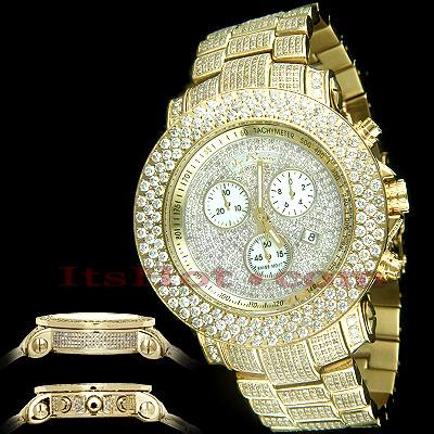 Mens Joe Rodeo Iced Out Watches 21ct JoJo Junior Yellow Gold Plated Main Image