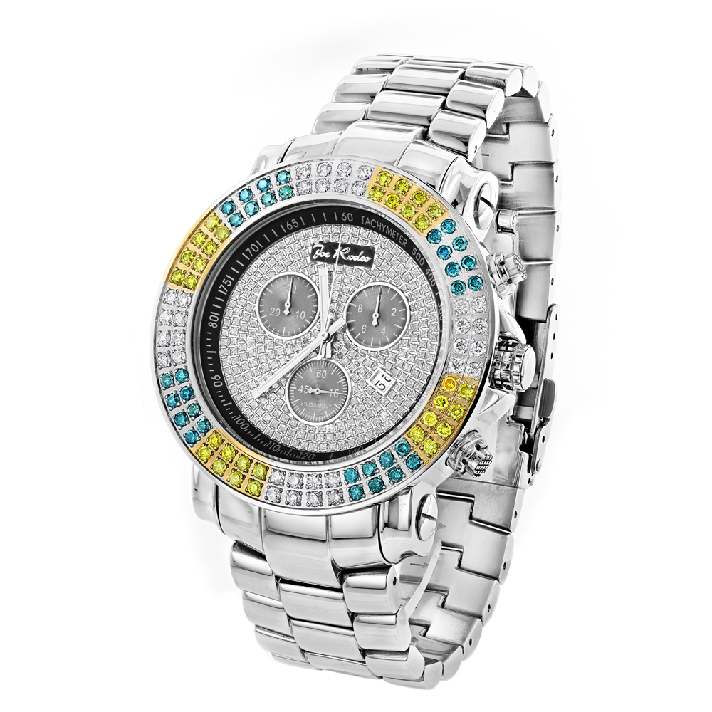 Joe Rodeo Junior Men's Diamond Watch White Yellow Blue Diamonds 4.3ct Main Image