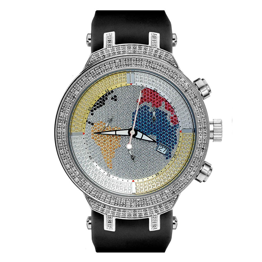 Joe Rodeo Master Color World Map Diamond Watch for Men 2.2ct Main Image