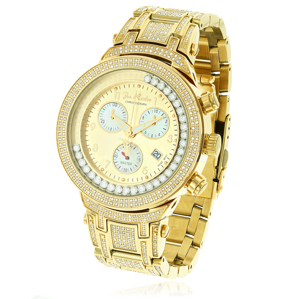 Joe Rodeo Master Diamond Mens Chronograph Watch Yellow Gold Plated 4.75ct