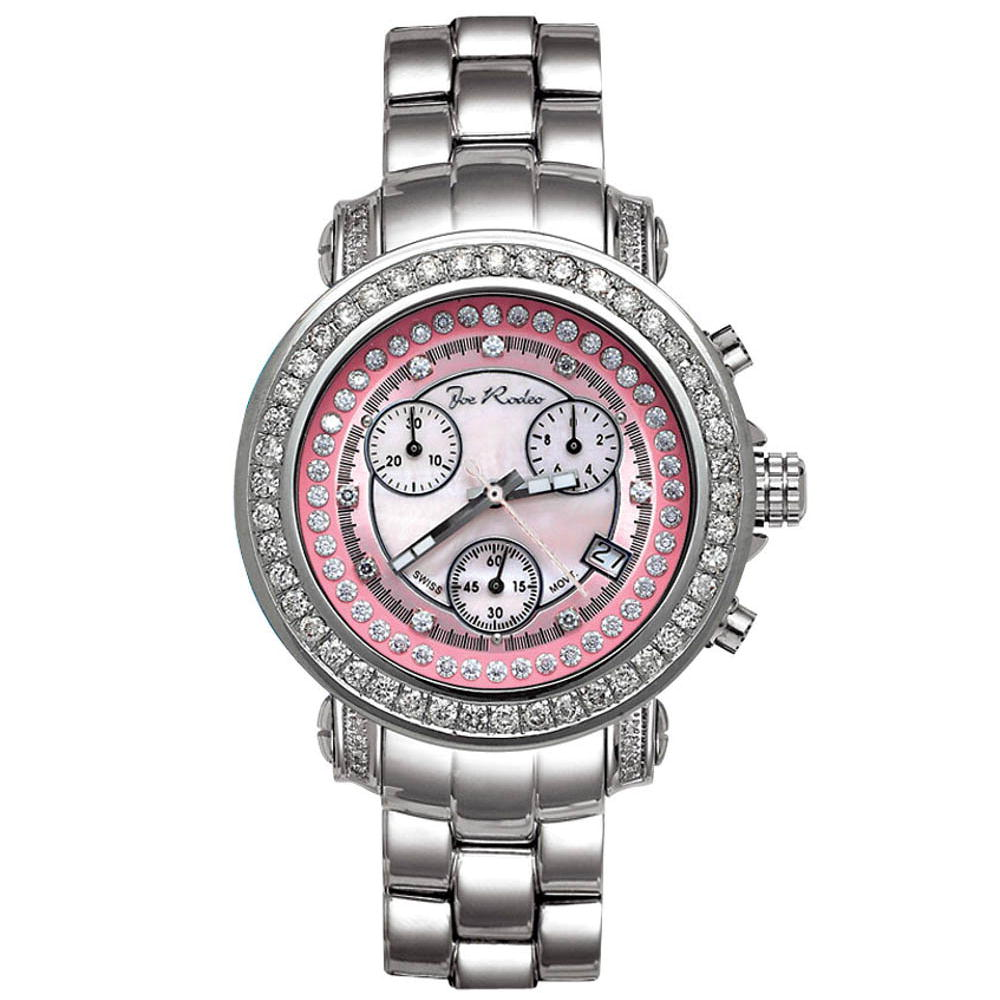 Joe Rodeo Rio Womens Diamond Watch 2.00ct Pink
