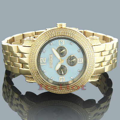 Mens JoJino Diamond Watches Collection 0.25ct Blue MOP Yellow Gold Plated Main Image