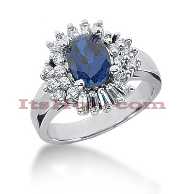 Kate Middleton Engagement Ring Style: Diamond and Sapphire Ring 14K Main Image