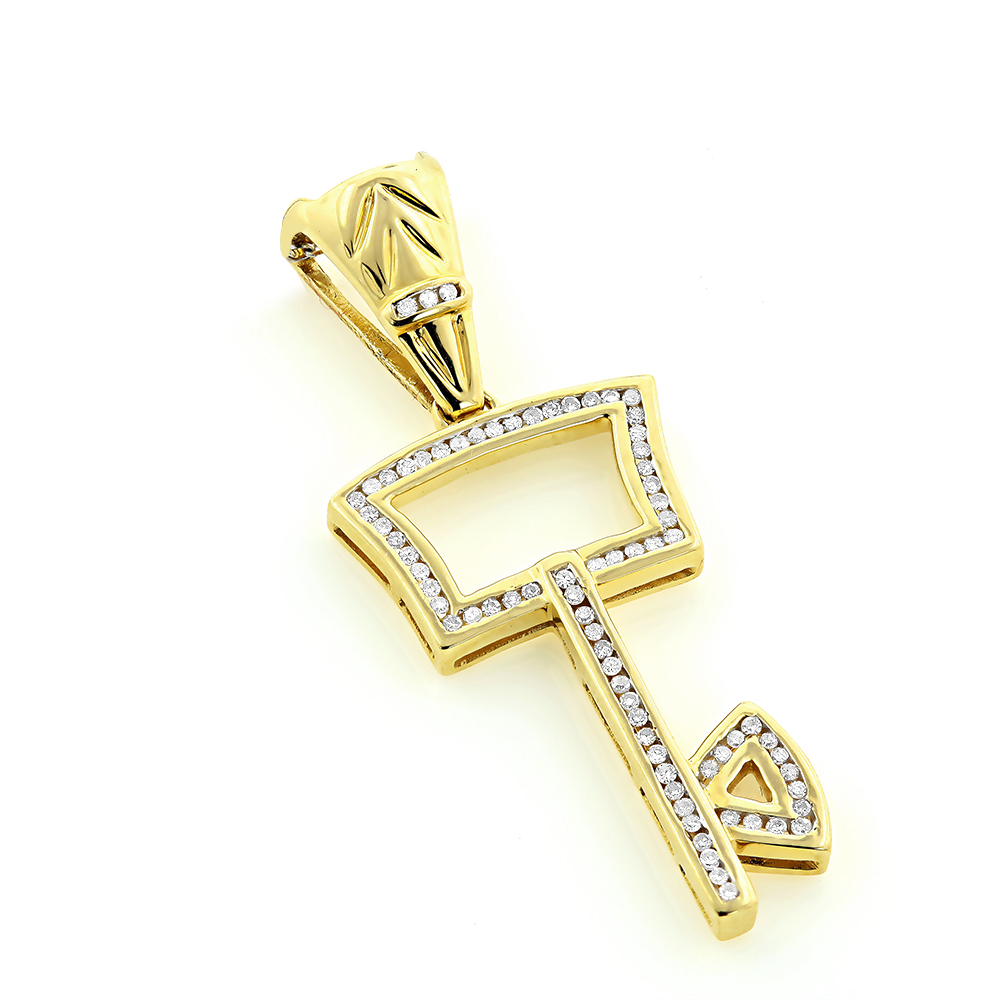 Key Necklaces 14K Gold Diamond Key Pendant 0.43ct