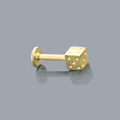 Labret Jewelry: Solid 14K Gold Dice Stud 14 Gauge Main Image