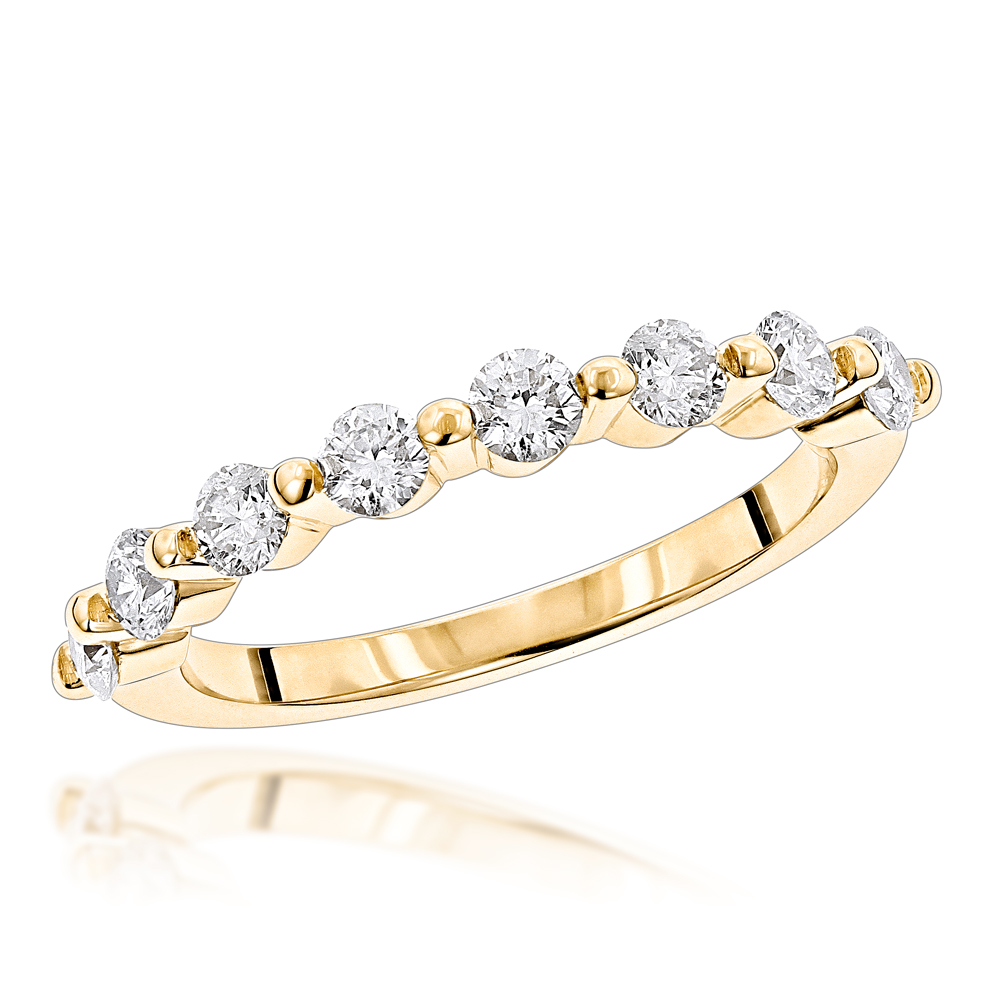 Ultra Thin Ladies 1 Row Diamond Ring 0.5ct 14K Gold