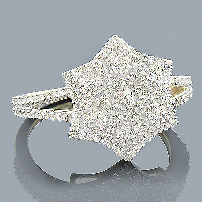 Ladies Solid 14K Gold Real Diamond Star Ring 0.35ct Main Image