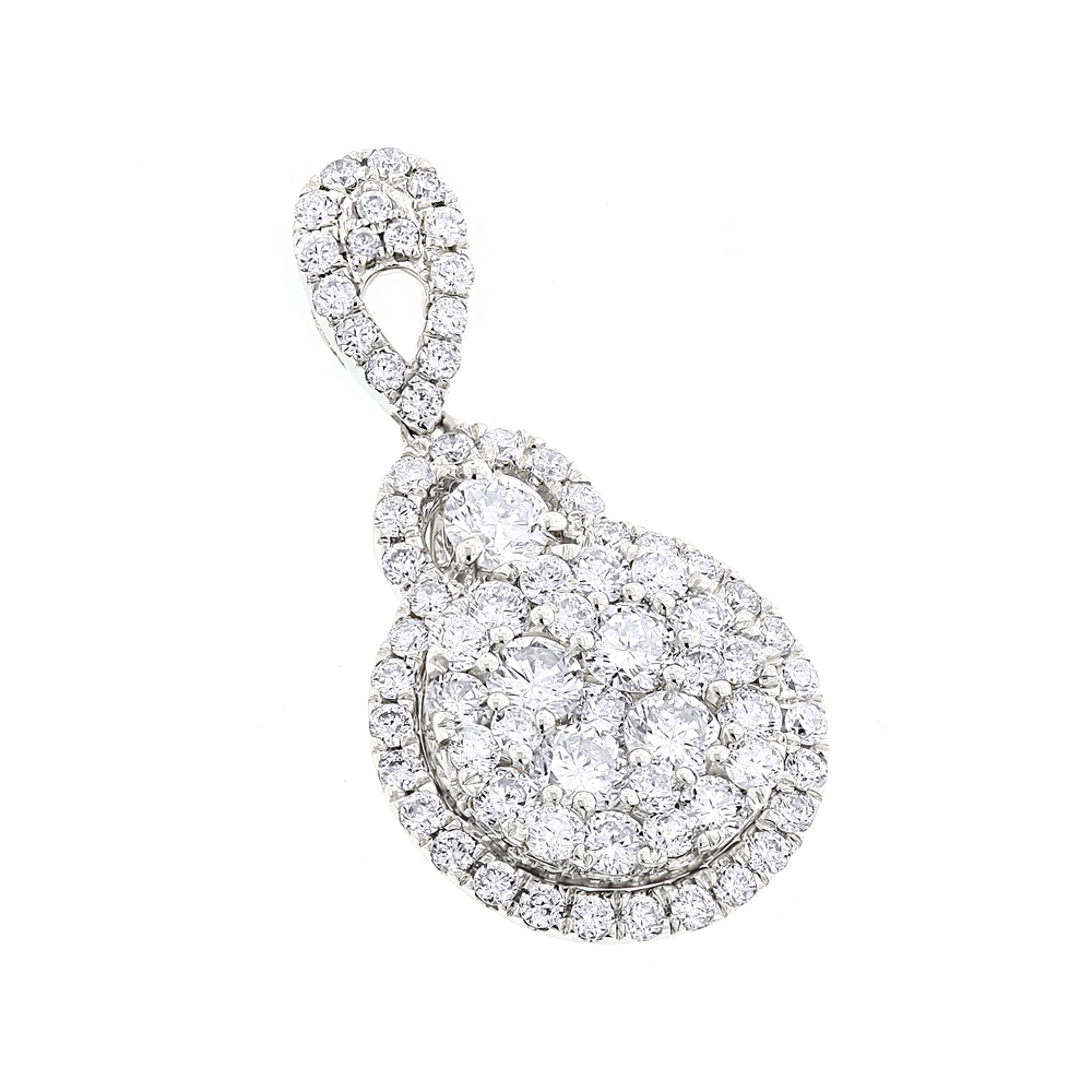 Ladies 14K Gold Cluster Diamond Drop Pendant 1.75ct by Luxurman White Image