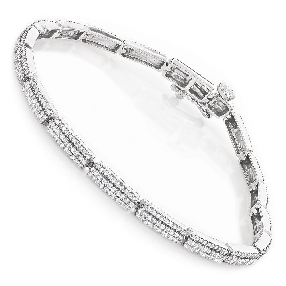 Ladies 14K Gold Designer Diamond Tennis Bracelet 2.16ct White Image