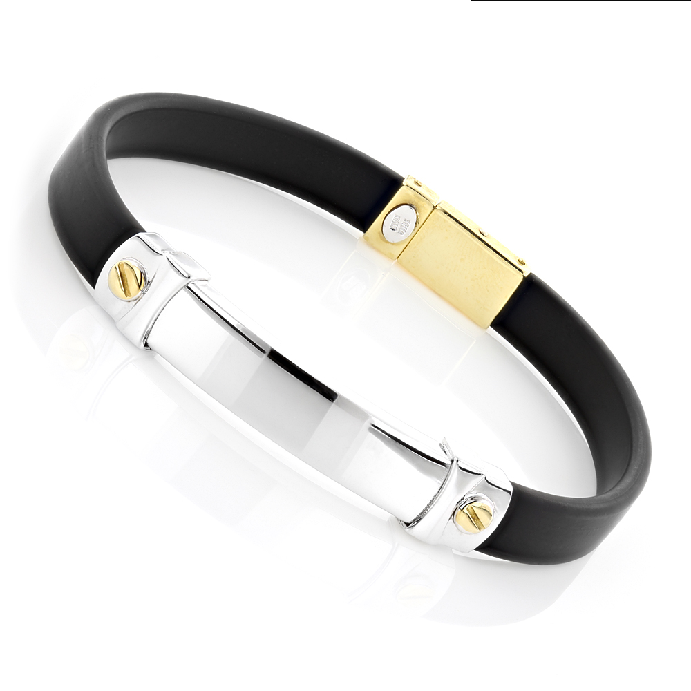 Ladies 18K Gold and Rubber Bracelet Main Image
