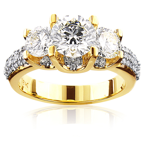 Ladies 18K Gold Three Stone Unique Diamond Engagement Ring 2.9ct Main Image