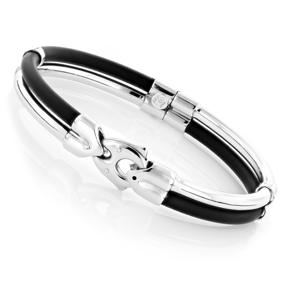 Ladies 18K White Gold and Rubber Bangle Bracelet main