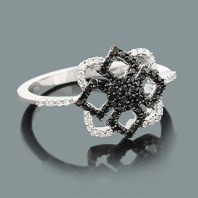 Ultra Thin Ladies Black and White Diamond Ring 0.31ct 14K Gold ladies-black-and-white-diamond-ring-031ct-14k-gold_1