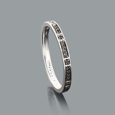 Ultra Thin Ladies Black Diamond Ring 0.14ct 14K Stackable main