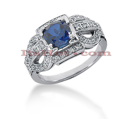 Ladies Blue Sapphire and Diamond Ring 14K 0.34ctd 1.00cts Main Image