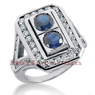 Ladies Blue Sapphire and Diamond Ring 14K 1.32ctd 1.50cts Main Image