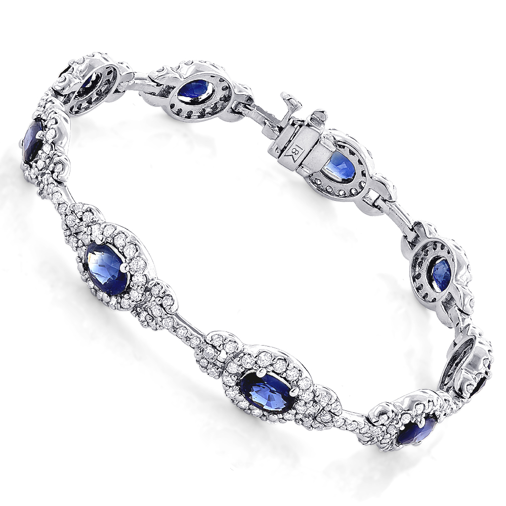 Ladies Blue Sapphire Diamond Bracelet 8.98ct 18k Gold
