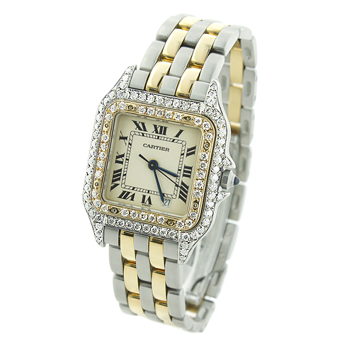 Ladies Cartier Panthere Mini 18K Gold & Steel Two-Tone  Vintage Diamond Watch Main Image