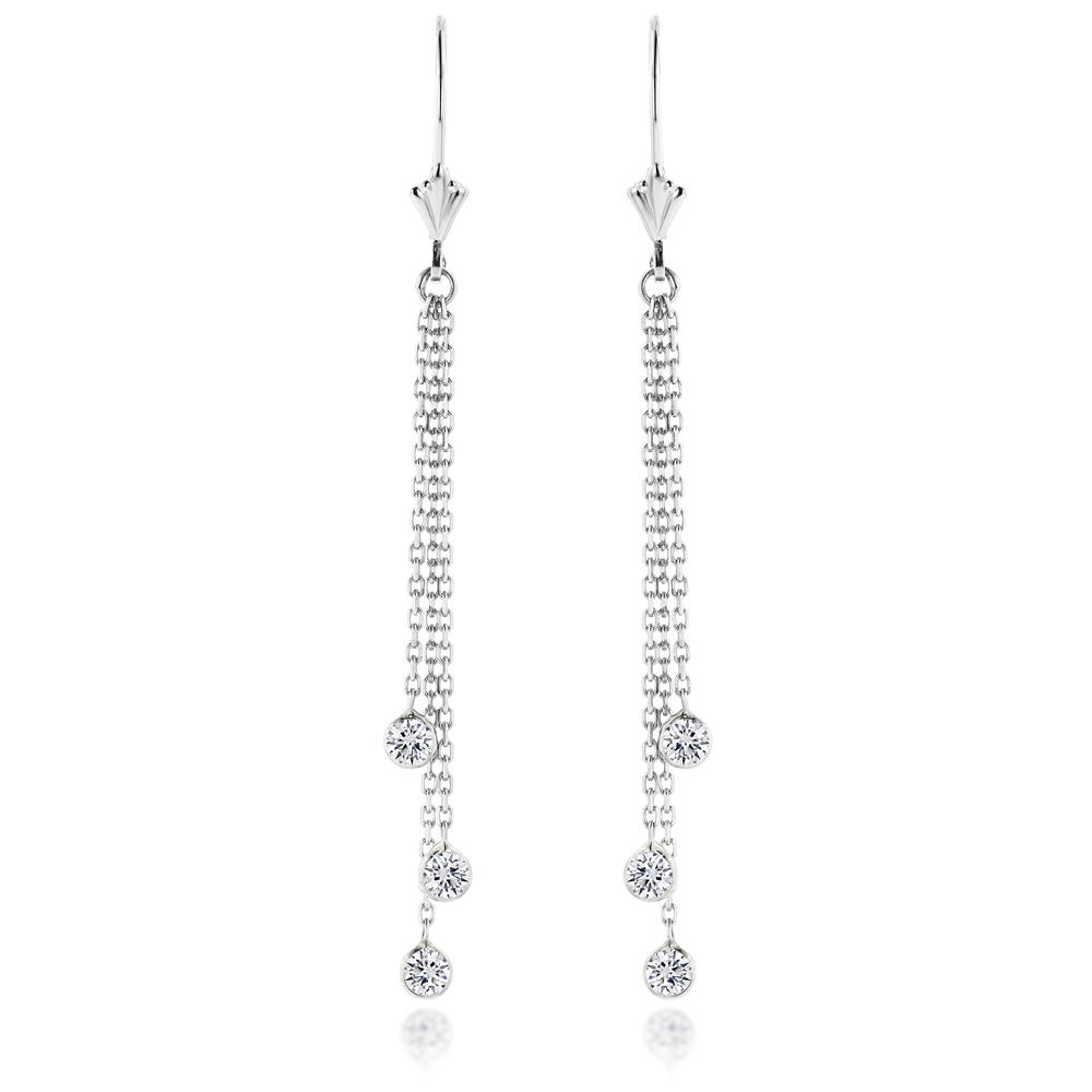 Ladies Chandelier Earrings With Diamonds By The Yard 0.6ct 14k Gold White Image