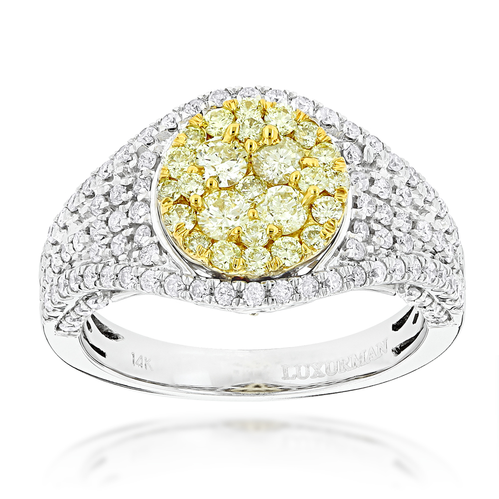 Ladies Cluster Rings: 14K Gold White Yellow Diamonds Engagement Ring 1.75ct White Image