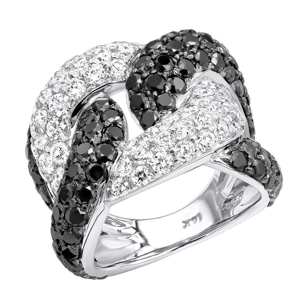 Ladies Cuban Link Rings 7.25ct G VS White & Black Diamond Right Hand Ring White Image