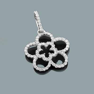 Ladies Cutout Diamond Flower Pendant 0.26ct 14K Gold