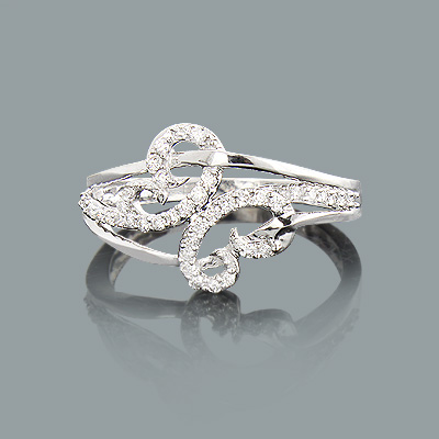 Ladies Designer Diamond Ring 0.26ct 10K Gold