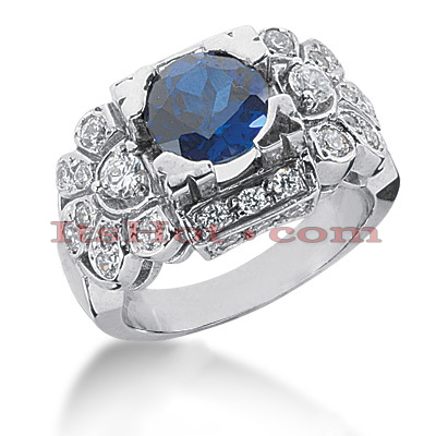 Ladies Designer Diamond Sapphire Ring 0.86ctd 2cts 14K Main Image