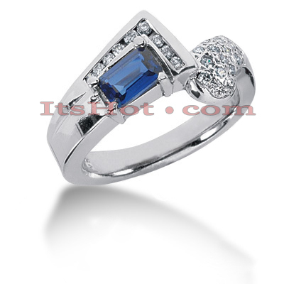 Ladies Diamond and Blue Sapphire Ring 14K 0.35ctd 0.50cts Main Image