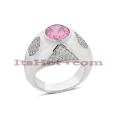 Ladies Diamond and Ruby Ring 0.78ctd 2ctr 14K Gold Main Image