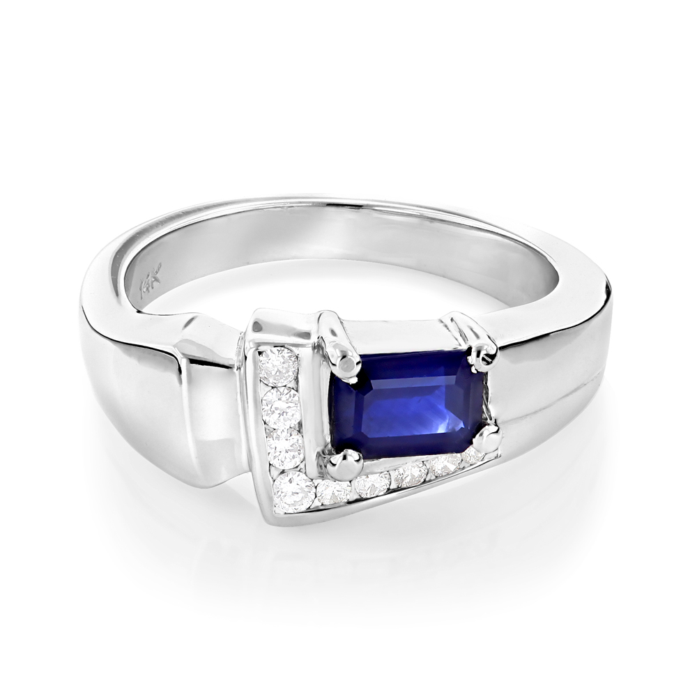 Ladies Diamond and Sapphire Ring 14K 0.13ctd 0.50cts White Image