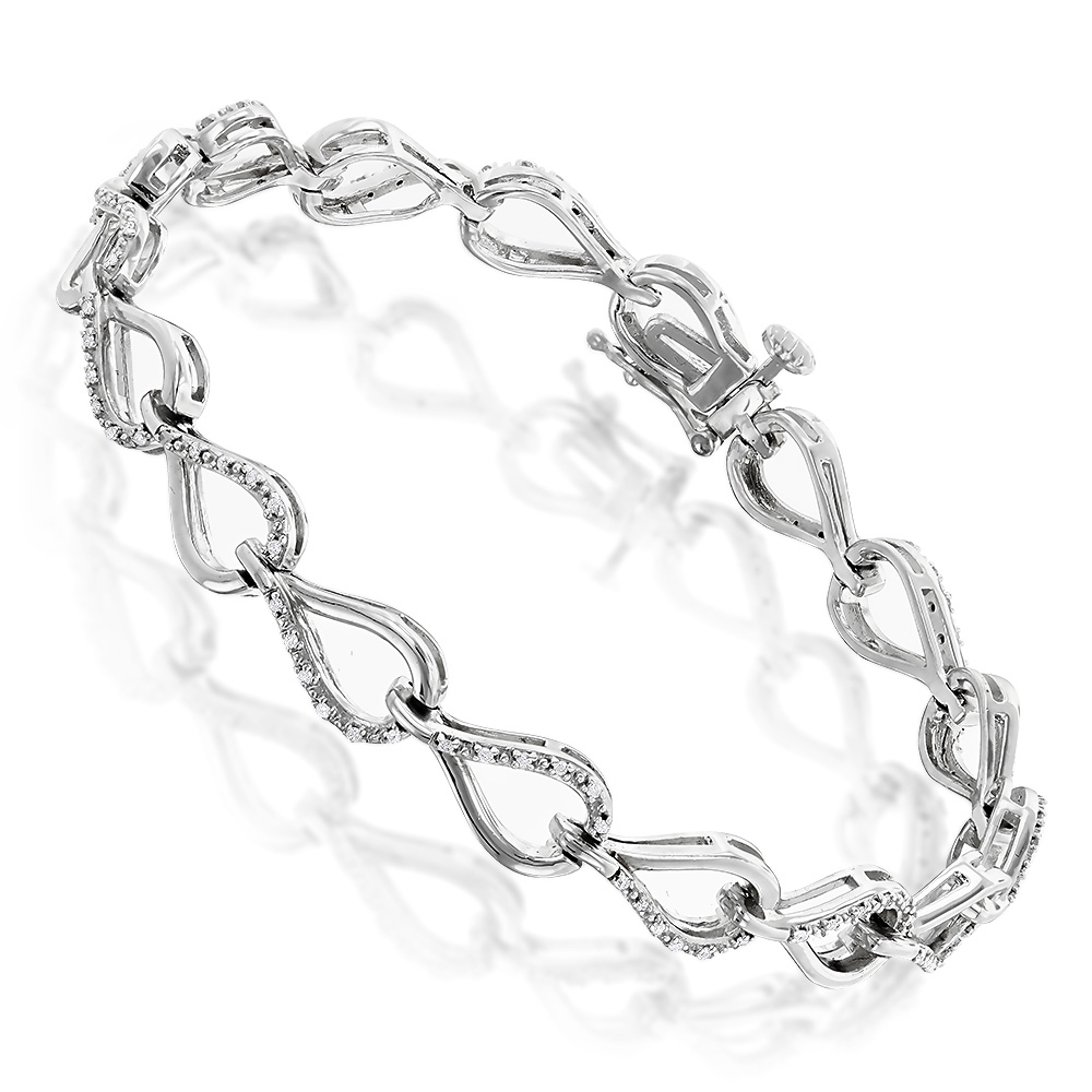 Ladies Diamond Bracelet with Infinite Hearts 0.25ct Sterling Silver Main Image
