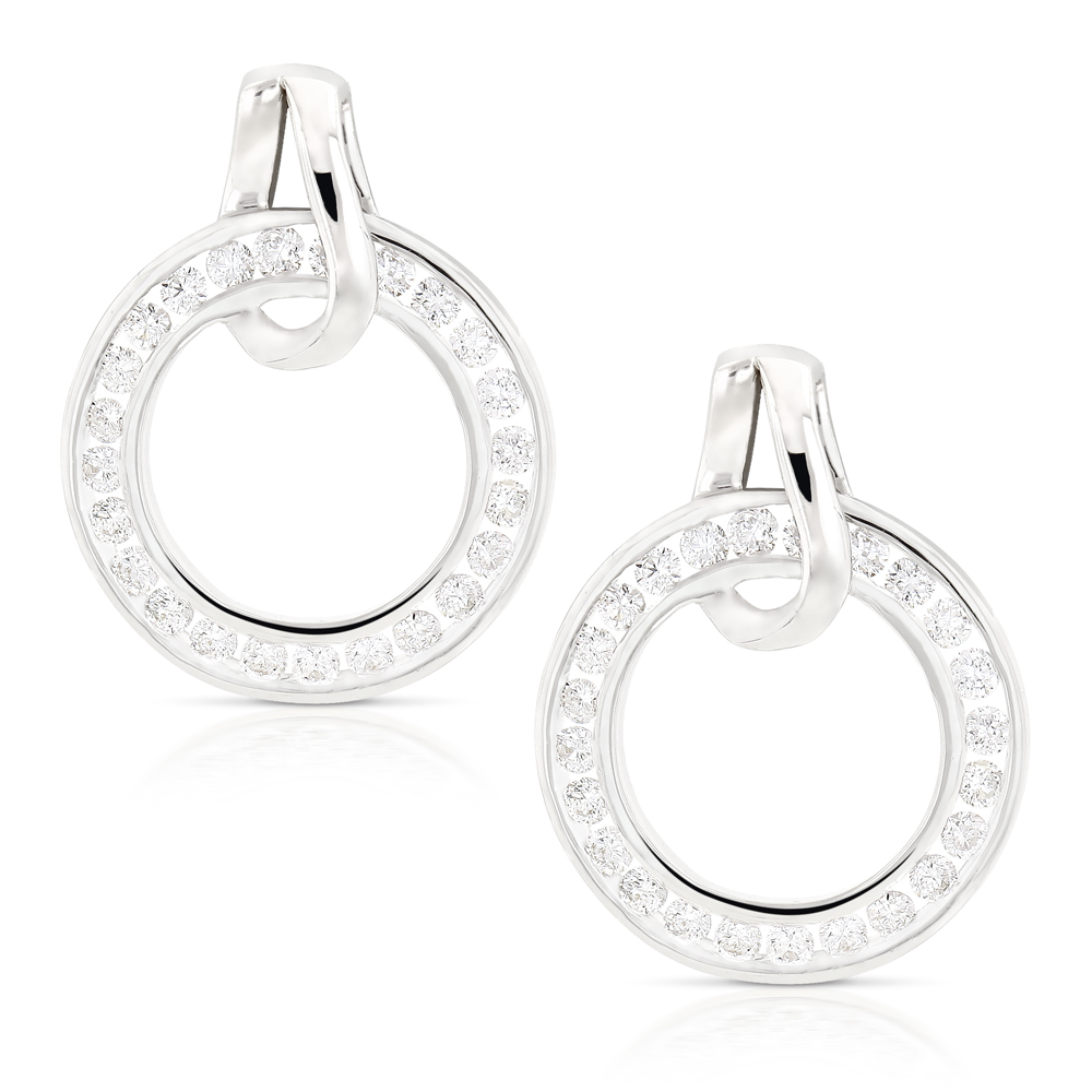 Ladies Diamond Circle Earrings 0.73ct 18K Gold  White Image