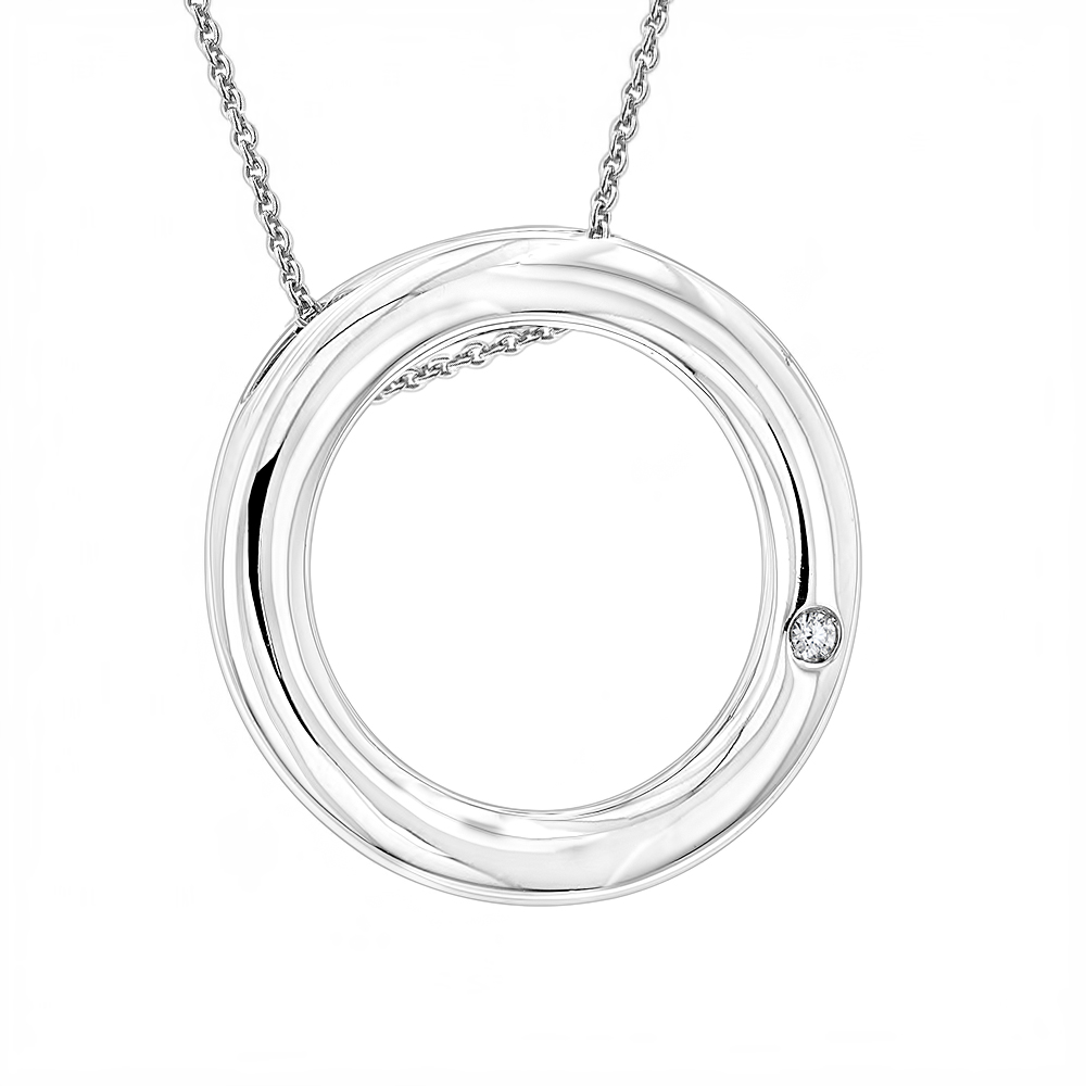 Ladies Diamond Circle Pendant in Sterling Silver Luxurman Love Quotes Main Image