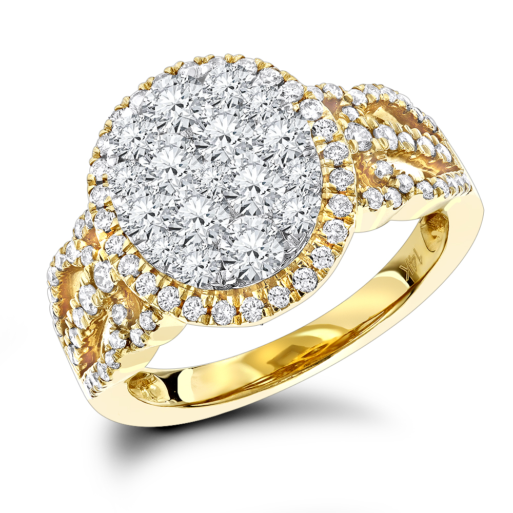 Ladies Diamond Cluster Ring Halo Engagement Ring 14K Gold 2ct Yellow Image