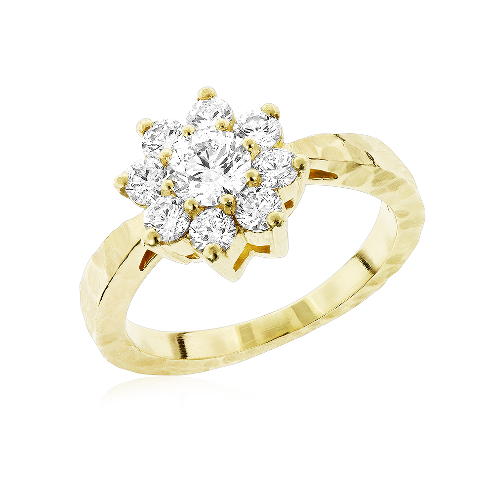 Ladies Diamond Cluster Rings: Hammered 14K Gold Diamond Flower Ring 1.3ct