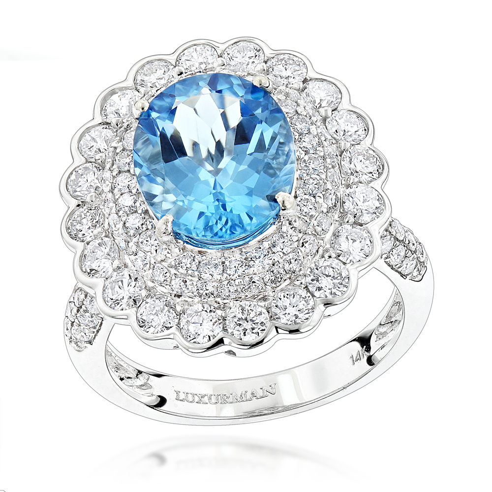 Ladies Diamond Cocktail Rings: Blue Topaz Engagement Ring 2.2ct 14K Gold White Image