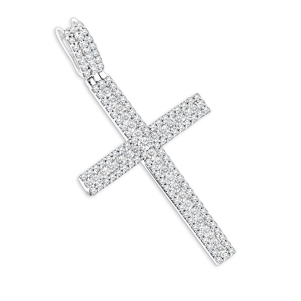 Ladies Diamond Crosses 14K Diamond Cross Pendant 1.36ct