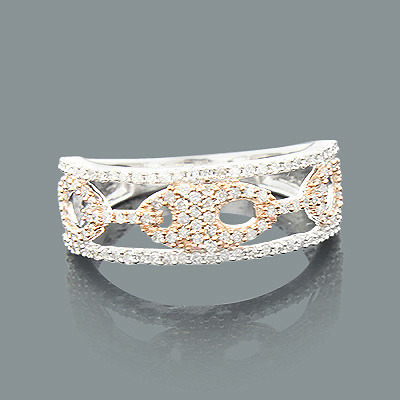 Ladies Diamond Cutout Ring 0.44ct 14K 2 Tone Gold Main Image