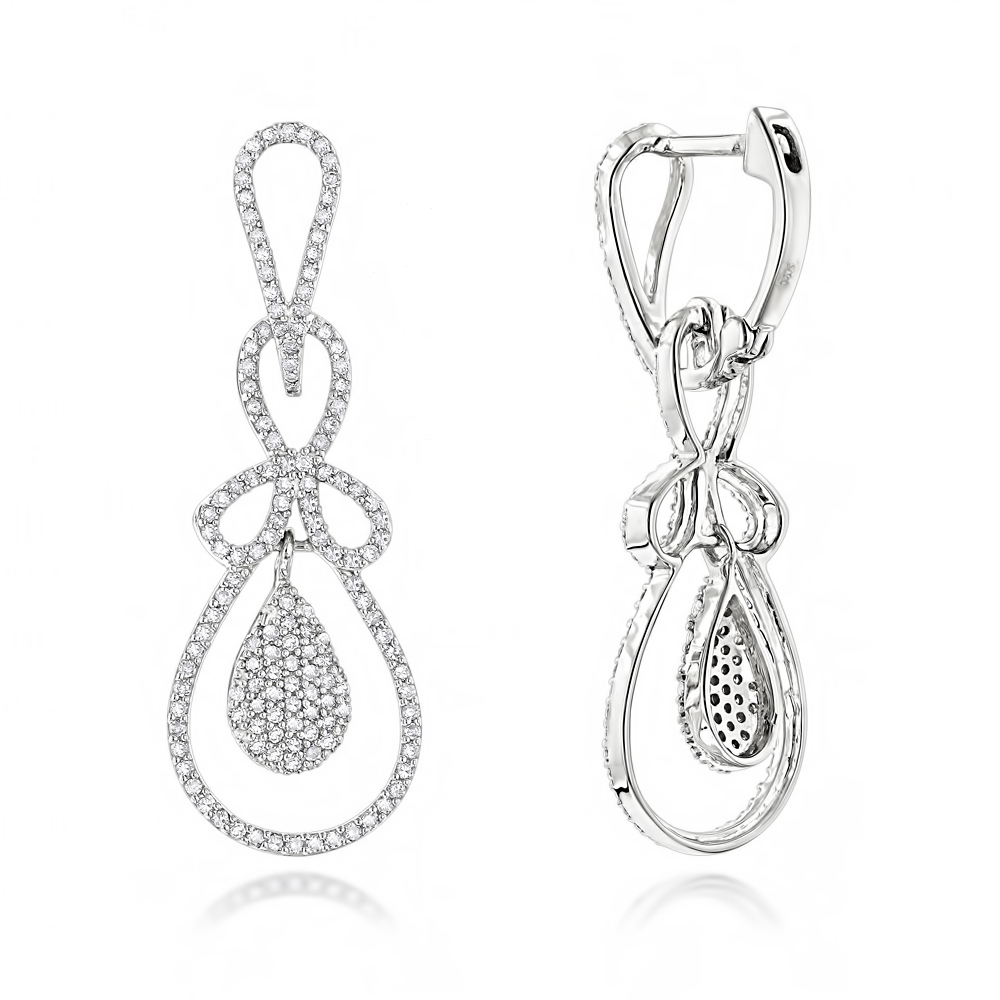 Ladies Diamond Drop Earrings 0.85ct 14K Gold White Image