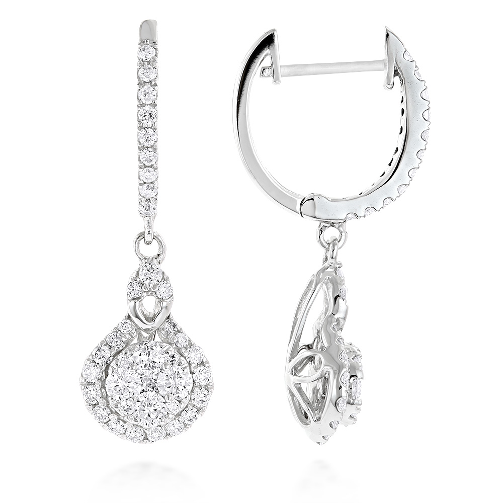 Ladies Diamond Drop Earrings by Luxurman 14K Gold 1.1ct Drop Shape Clusters White Image