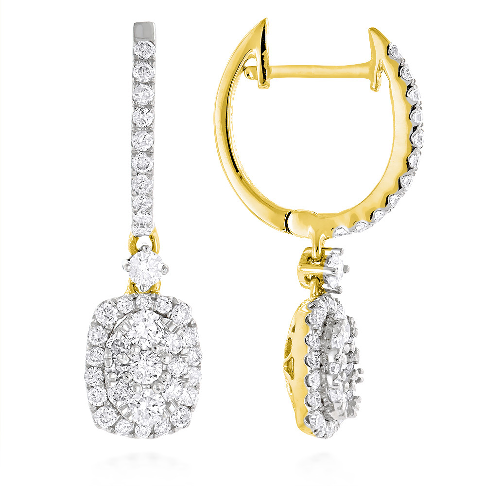 Ladies Diamond Drop Earrings Oval Design in 14K Gold 1.1ct by Luxurman Yellow Image